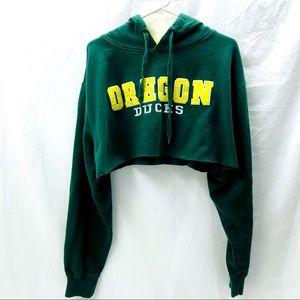 Oregon Ducks Cropped Hoodie Sweatshirt Oversized